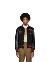 Burberry Black Wool And Leather Padfield Bomber Jacket