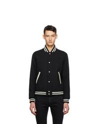 Saint Laurent Black Wool Teddy Varsity Bomber Jacket