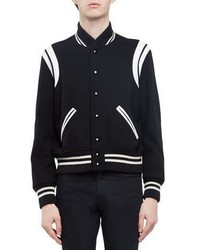 Saint Laurent Classic Teddy Varsity Jacket Black