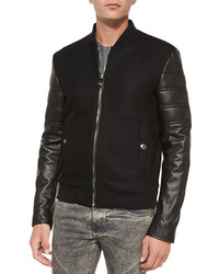 Versace Collection Leather Sleeve Varsity Jacket Black