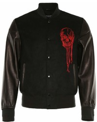 Alexander McQueen Fabric And Leather Bomber Jacket