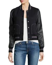 Rachel Zoe Faux Leather Sleeve Baseball Jacket Black
