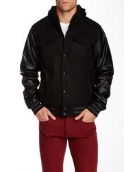 Steve Madden Fleece Hooded Varsity Jacket