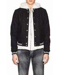 John Elliott Yuji Distressed Leather Varsity Jacket