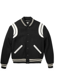 Saint Laurent Leather Trimmed Wool Blend Bomber Jacket