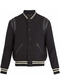 Saint Laurent Leather Trimmed Wool Bomber Jacket