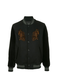 Roarguns Leopard Applique Bomber Jacket Jackets
