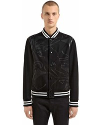 Valentino Panther Leather Wool Varsity Jacket