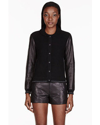 Rag and Bone Rag Bone Black Reina Varsity Jacket