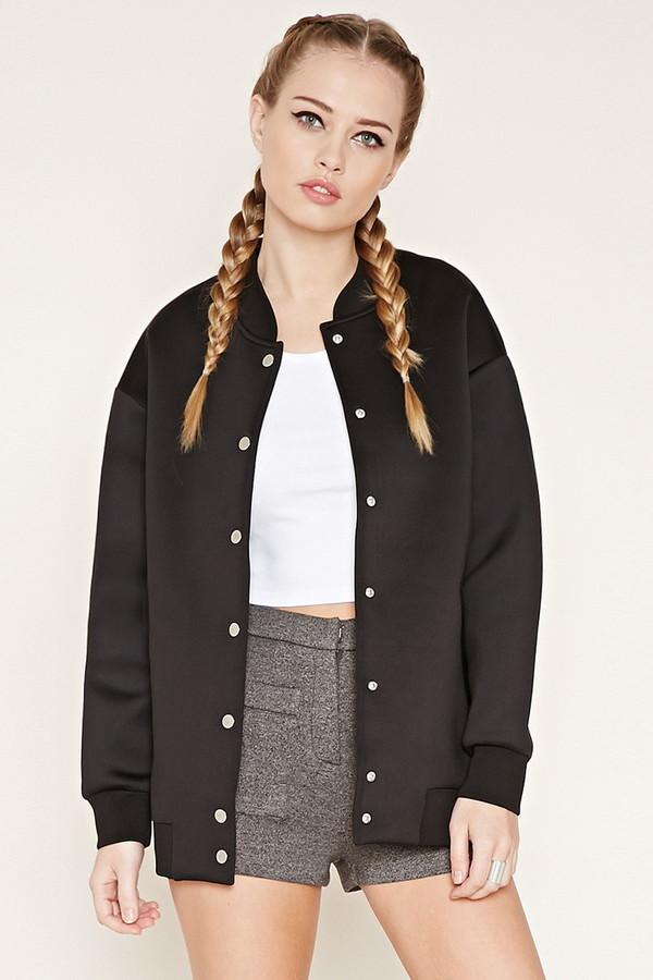 $37, Forever 21 Scuba Knit Bomber Jacket
