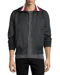 Bally Stripe Collar Varsity Track Jacket Black