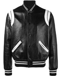 Stripe leather varsity jacket medium 3762145