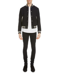 Saint Laurent Teddy Logo Patch Wool Blend Bomber Jacket