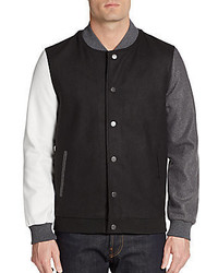 Two Tone Wool Blend Varsity Jacket