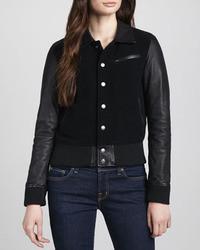 Current/Elliott Varsity Leather Sleeve Jacket
