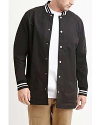 Forever 21 Varsity Striped Longline Jacket