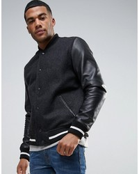 Asos Wool Mix Varsity Jacket With Leather Sleeves In Black