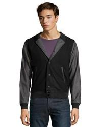 Zak Black Wool Blend Tennant Varsity Jacket