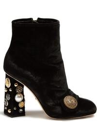 Dolce & Gabbana Embellished Heel Velvet Ankle Boots