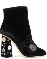 Dolce & Gabbana Embellished Velvet Ankle Boots Black