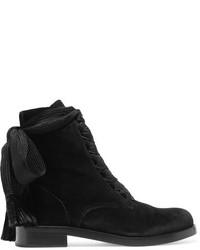 Chloé Harper Velvet Ankle Boots Black