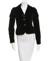 Alice + Olivia Velvet Button Up Blazer