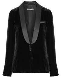Elizabeth and James Ambrose Satin Trimmed Velvet Blazer Black