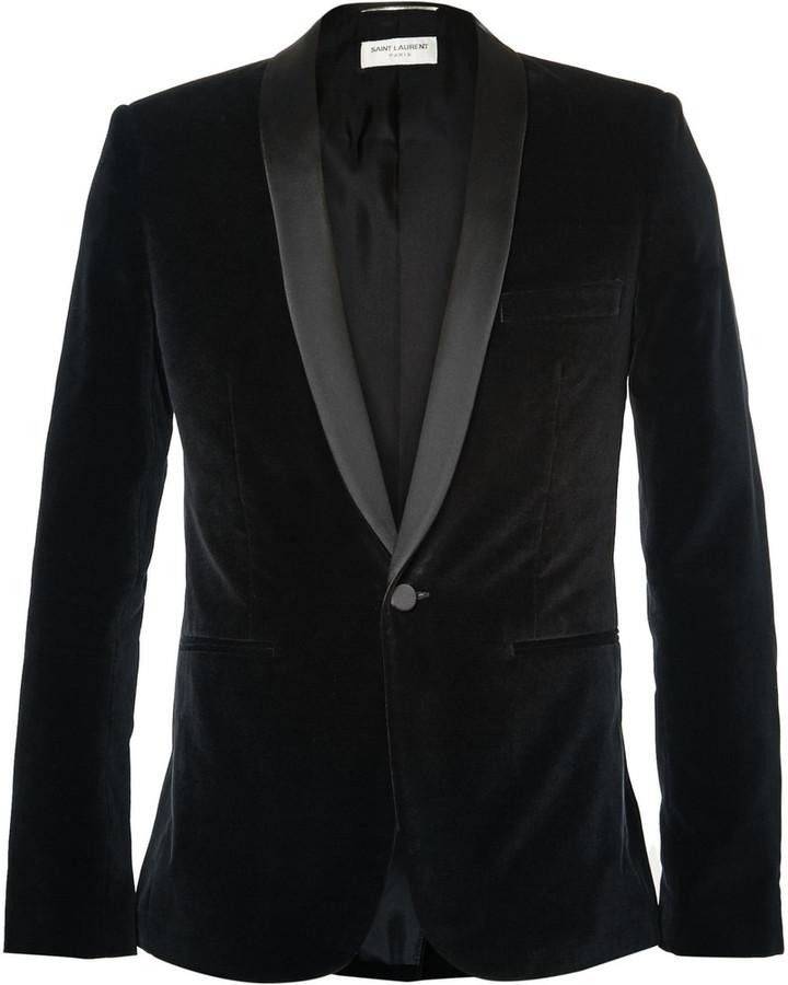 Black slim fit velvet blazer