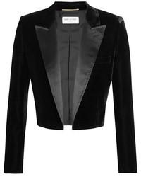 Saint Laurent Cropped Satin Trimmed Velvet Blazer Black