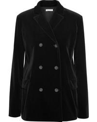Tomas Maier Double Breasted Velvet Blazer Black