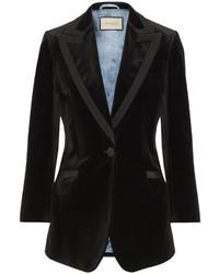 Gucci Embellished Grosgrain Trimmed Velvet Blazer Black