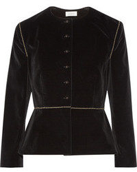 Isa Arfen Embroidered Stretch Velvet Blazer
