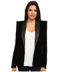 Sam Edelman Fitted Velvet Blazer W Satin Lapel