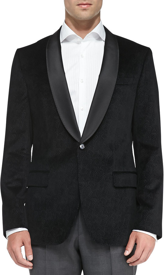 ... Hugo Boss Boss Hugo Boss Velvet Paisley-Print Jacket, Black