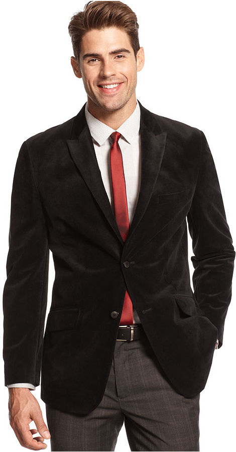 Alfani Red Slim Fit Velvet Blazer | Where to buy & how to wear
