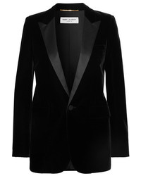 Saint Laurent Satin Trimmed Velvet Tuxedo Blazer Black