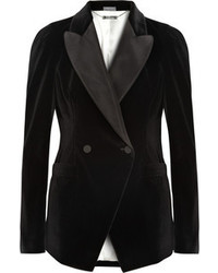Alexander McQueen Satin Twill Trimmed Velvet Tuxedo Blazer
