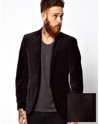 Asos Slim Fit Blazer In Velvet Black