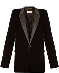 Saint Laurent Squared Shoulder Single Breasted Velvet Blazer