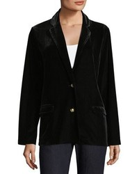 Joan Vass Stretch Velvet Two Button Blazer