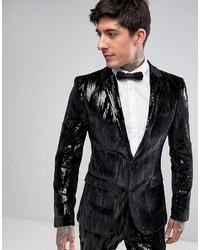 Asos Super Skinny Blazer In Black Velvet And Sequins