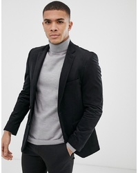 Burton Menswear Velvet Blazer In Black