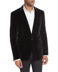 Burberry Velvet Peak Lapel Single Button Sport Jacket Black