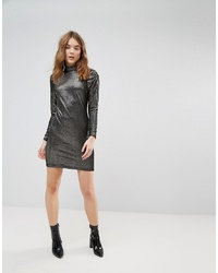 New Look Metallic Velvet Puff Sleeve Bodycon Dress Pattern