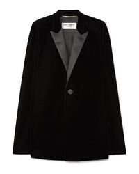Saint Laurent Satin Trimmed Velvet Cape