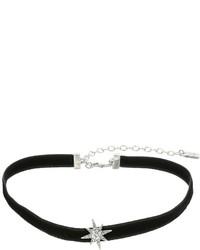 Lauren Ralph Lauren 12 Black Velvet Choker With Silver Crystal Star Necklace Necklace