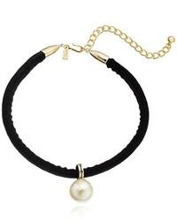 Kenneth Jay Lane Black Velvet Choker With Pearl Drop Center Choker Necklace