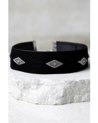 LuLu*s Book Of Shadows Silver And Black Velvet Choker Necklace
