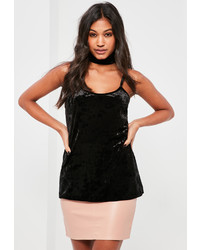 Missguided Black Crushed Velvet Choker Neck Cami Top