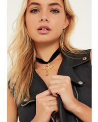 Missguided Black Velvet Jewelled Cross Choker